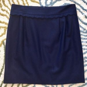 J. Crew | Navy Wool Scallop Trim Mini Skirt Size 6